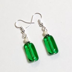 Light-Filled Kelly Green Czech Glass Earrings